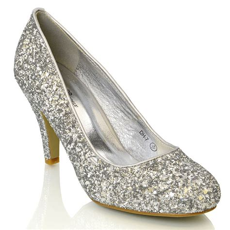womens low heel bridal evening prom glitter