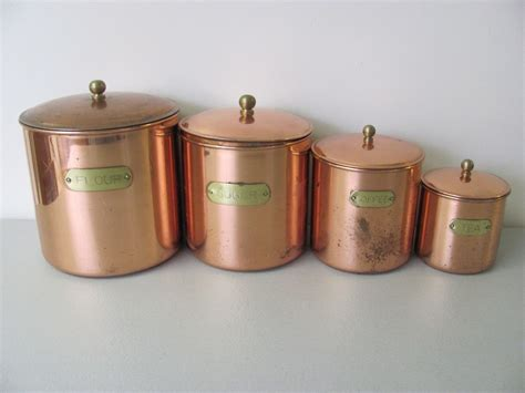 kitchen canister sets vintage vintage copper plated kitchen canister set