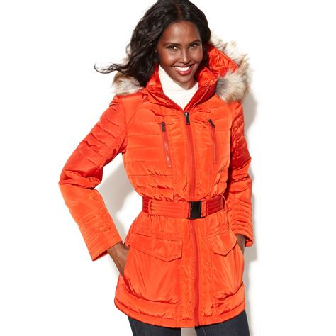 Jones new york Hooded Faux fur trim Puffer Parka in Orange
