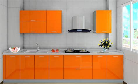 Orange Kitchen Wallpaper by Orange Cabinets And Light Blue Walls For Kitchen 3d