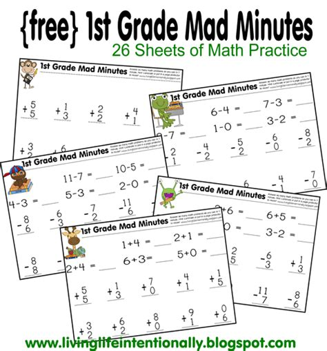 printable math minute worksheets free printable 1st grade mad minute math game there is