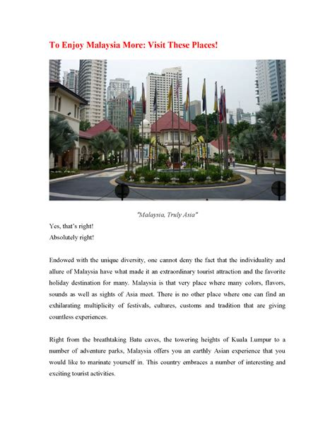 A Place You Enjoy Visiting To Enjoy Malaysia More Visit These Places Authorstream