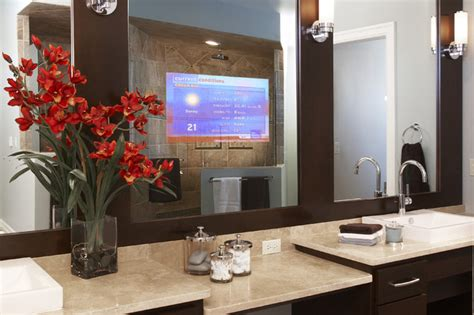 Bathroom Mirrors With Tv Enhanced Series Television Mirror Bathroom Mirrors By Seura