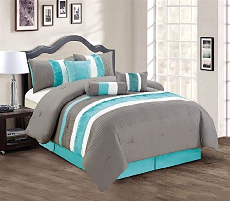 white comforter with blue accents modern 7 piece bedding teal blue grey white pin tuck