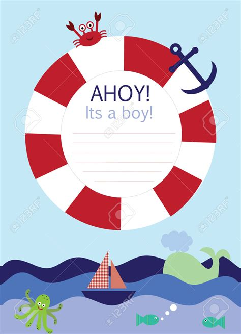 ahoy its a boy picture frame nautical baby shower borders free clipart