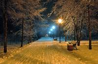 Romantic Evening Benches Bench Seat Winter Snowy Park Road Nature