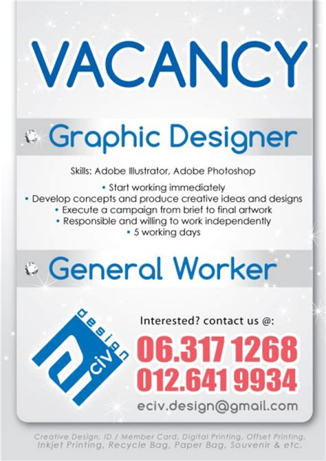 graphic design vacancy indonesia in house graphic designer vacancy house design