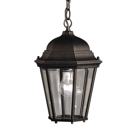 Shop Kichler Madison 13 5 In Black Outdoor Pendant Light Outdoor Black Light
