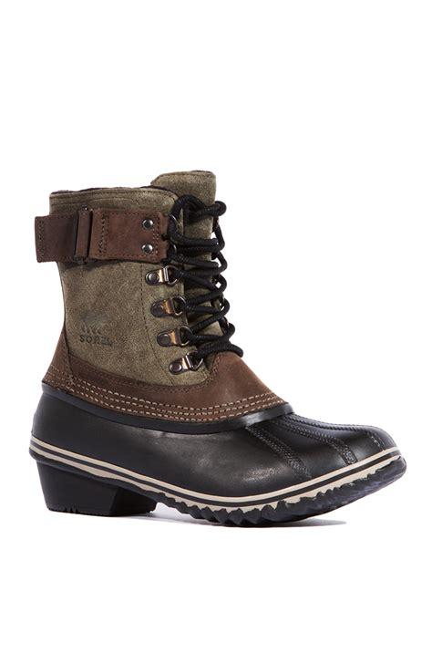 fancy boots for sorel winter fancy lace boot in brown peatmoss black lyst