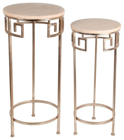 round side tables for bedroom zeckos 2 piece gold finish metal and marble round accent