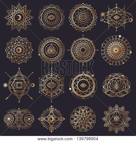 sacred geometry forms with eye moon sun vector