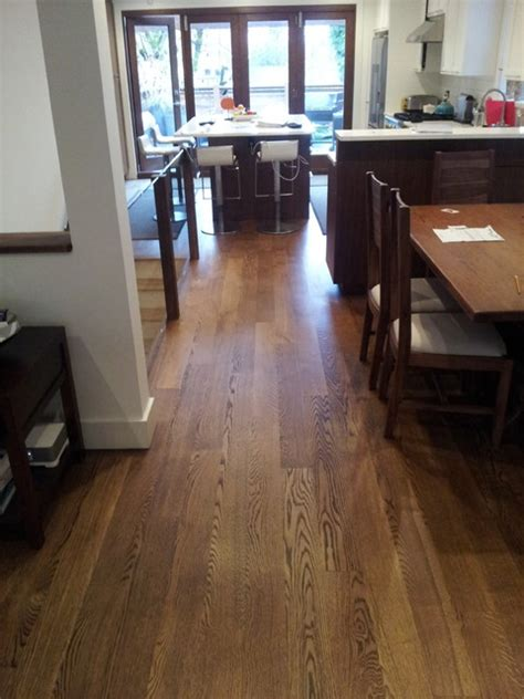 flat grain white oak stained antique brown contemporary dining room vancouver by