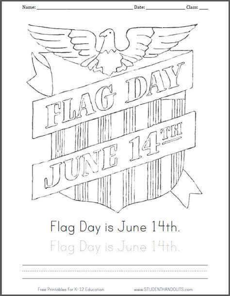 free printable flag day june 14th coloring sheet