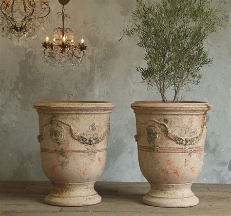 Antique Planters by Large Unglazed Anduze Garden Urn Pots Vielle