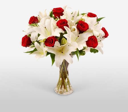 Fire & Ice - Red Roses and White Lilies in a Vase for ... Fire And Ice Roses