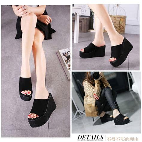 Sepatu Wedges Wanita 10cm On04 jual shw3551 black sepatu wedges fashion 10cm