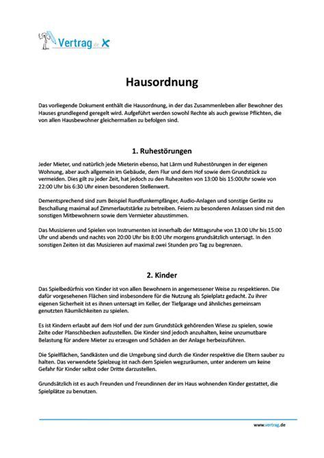Muster Kündigung Mietvertrag Vom Vermieter Hausordnung Mietvertrag Muster