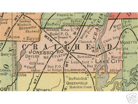 Craighead County Records Craighead County Arkansas Genealogy History Maps With Jonesboro Monette Lake City