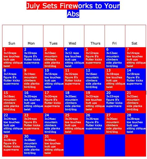 july ab calendar health and fitness abs workout and calendar