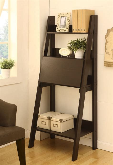 ladder shelf flip writing desk folding tray wooden