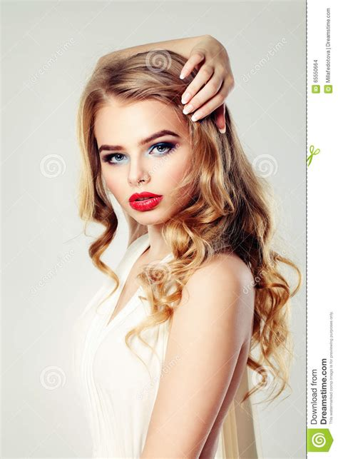 blonde mannequin hairstyles with rubber bands young woman fashion model makeup and hair royalty free