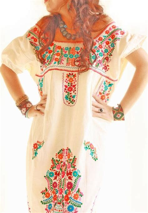 Nicely Dress X S M L handmade mexican embroidered dresses and vintage treasures