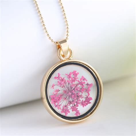 Box Wishing Lucky lucky wishing glass locket pendant real dried flower