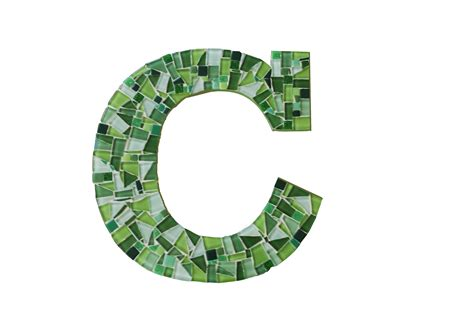 Green C mosaic wall letter c in green