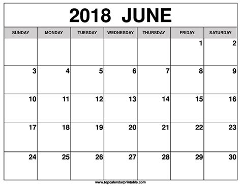 printable calendar 2018 june june 2018 calendar printable happyeasterfrom com