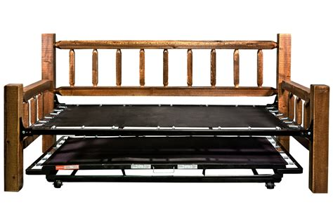 Log Bunk Beds With Trundle Rustic Sawn Daybed W Trundle Montana Woodworks 174 Amish Furniture The Log Furniture Store