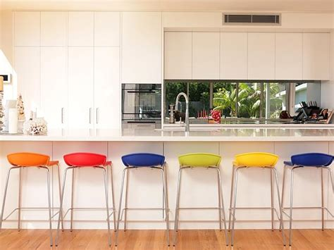 Coloured Kitchen Stools by Tv Presenter Johanna Griggs Opens Up Home And