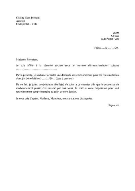 Exemple De Lettre De Demande Lettre De Demande De Remboursement Des Soins Lelynx Fr