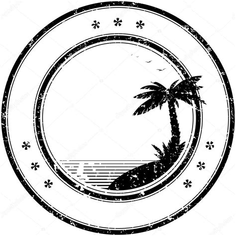rubber st circle rubber vector st with tropical palm tree stock vector