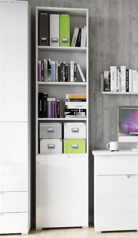 Cellini White High Gloss Bookcase With Gloss Door White High Gloss Bookcase