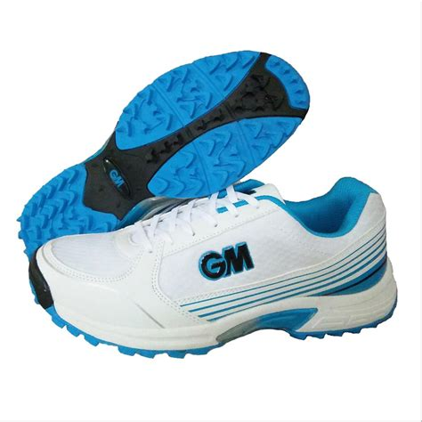 cricket shoes gm maestro all rounder stud cricket shoes white and blue