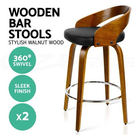 2 Wooden Bar Stools by 2x Wooden Bar Stools Swivel Barstool Kitchen Dining Chairs