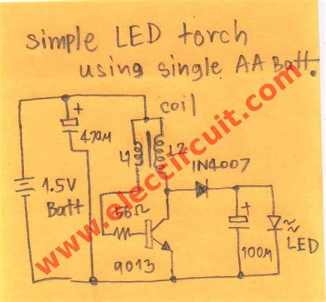 Diy Electronic Projects 1 5v led flashlight circuit eleccircuit com