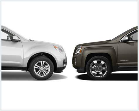 gmc terrain vs chevy equinox chevrolet equinox vs gmc terrain compare cars