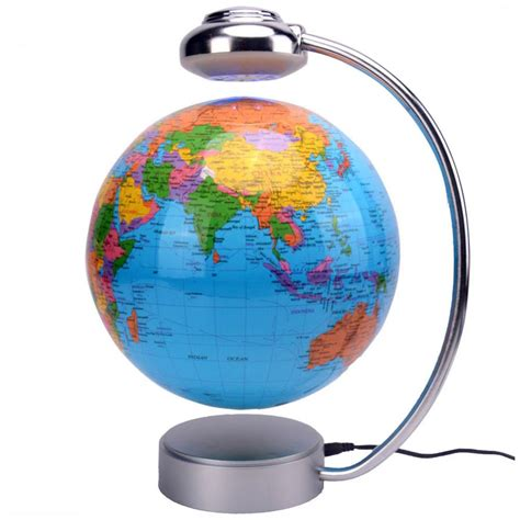 8 inch rotation magnetic levitation globe blue decorative