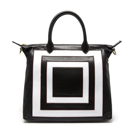 Lulu Guinness Reversible Tote White lulu guinness small squares leather tote black