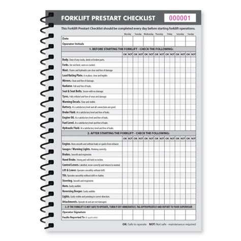 forklift checklist template printable fork lift daily inspection checklist pictures to