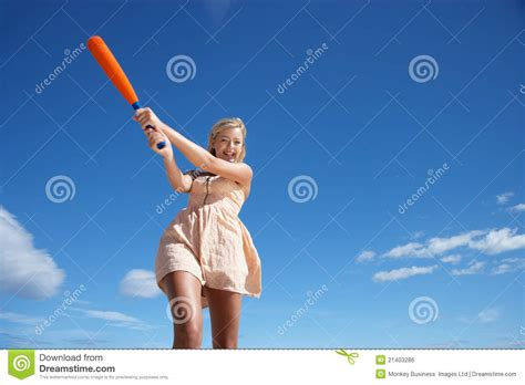 swinging baseball bat teenage girl swinging baseball bat royalty free stock