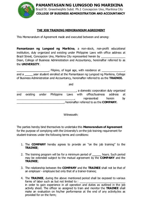 Ojt Agreement Letter Sle Ojtforms2013 130410060448 Phpapp01