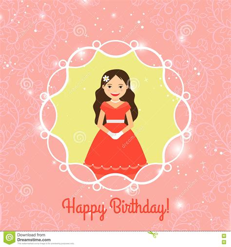 princess birthday card template happy birthday card template with princess stock vector