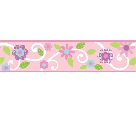 Wall Stickers Borders scroll floral wall stickers border pink white stickers