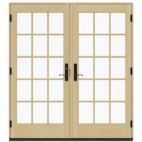 Jeldwen Patio Doors Jeld Wen 72 In X 80 In W 4500 Vanilla Prehung Right Inswing Patio Door With