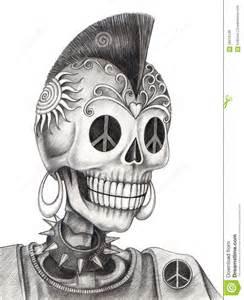 tatouage punk de cr 226 ne d art illustration stock image
