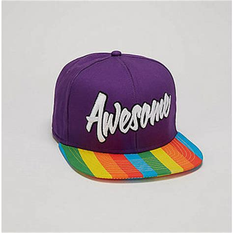 awesome rainbow brim snapback hat from spencers gifts