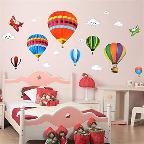 hot air balloon bathroom amaonm removable creative 3d hot air balloon aircraft and smile clouds wall decals