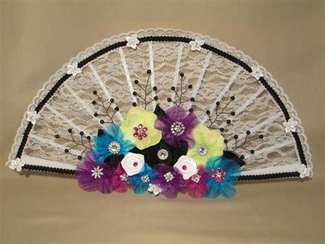 Handmade Flower Bouquet - oak bridal bouquet fan white lace fan wedding